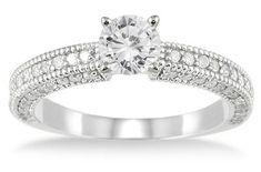 ApplesofGold.com - 1 Carat Antique-Style Diamond Engagement Ring, 14K White Gold, $799