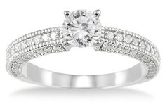 1 Carat Antique-Style Diamond Engagement Ring, 14K White Gold