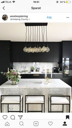 My favorite room in the house! Decor inspiration/ideas for the kitchen with my f… - Luxury Kitchen Remodel Modern Kitchen Island, Open Plan Kitchen, Modern Kitchen Design, Minimal Kitchen, Kitchen Black, Kitchen Designs, Interior Desing, Interior Design Kitchen, Shabby Chic Kitchen