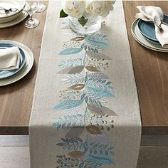 Delicate botanical design embellishes gorgeous linen runner with silky embroidery in springtime blues and neutrals. View larger image of Clara Linen Table Runner Loving this Fall Tree Embroidered Table Runner on Rug Runners for Hallway, Kitchen & Outdoor Table Runner And Placemats, Burlap Table Runners, Table Runner Pattern, Quilted Table Runners, Rug Runners, Crate And Barrel, Barrel Table, Embroidery Patterns, Machine Embroidery