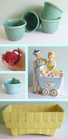 Pottery  LOVE the blue shawnee custard cups!