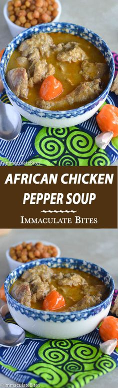 A delicious African spicy chicken soup that will warm you up. Flavored with ginger, garlic, pepper, onions & only 5 minute prep.