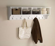 White 5 Ft Entry Hall Shelf with 4 Cubby and 9 Hook Coat Rack. A Wall Mount Storage Hat Rack Makes a Convenient Space Saver That Keeps Your Entryway Organized. Use a Hanging Entryway Shelf to Reduce Clutter. Winslow