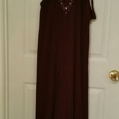 """Victoria Secret Knife Pleated Maxi Dress Crystal embellishments at neck, new without tags,  dark purple, size:  XL Short (size 16), length :  39"""" from waist Victoria's Secret Dresses Maxi"""