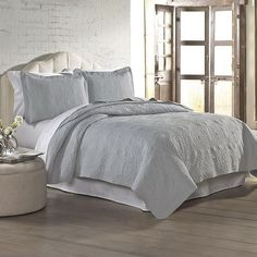 Pacific Coast Solid Embroidered Quilt Set