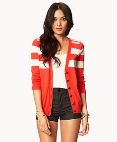 Essential Colorblocked V-Neck Cardigan  FOREVER 21 Product Code : 2042178447