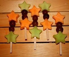 star spangled fruit kabobs: kids love fruit and they love it even more in fun shapes. This would be good for birthdays or even  4th of July