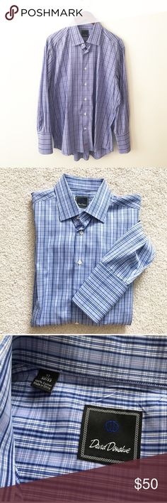 DAVID DONAHUE Blue Plaid button down dress Shirt Dry cleaned and ready to wear. Size 17 32/33. Blue button down with Plaid. 100% cotton. David Donahue Shirts Dress Shirts