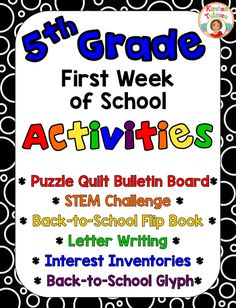 Are you teaching 5th grade? These back to school activities are easy to use and are created especially for 5th grade (other grade levels available... click the link and find them in the product description). This beginning of the year activity product includes a glyph, a STEM challenge, a flip book, interest inventories, and a beginning of the year bulletin board activity. Start your year off on the right foot with these easy to use, get to know you activities for your students!
