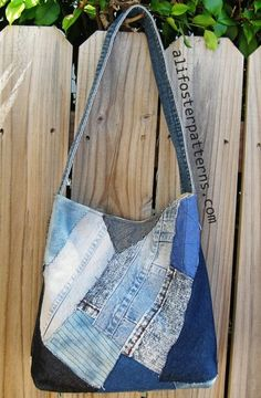 cut patches of denim and sew on canvas bag