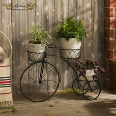 Home-Garden-Decor-Indoor-Outdoor-Metal-Bicycle-French-Provincial-Planter-Stand