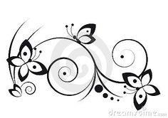 Zwart-wit vignet in een grafische stijl met vlinders en rollen