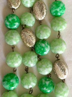 Vintage Kramer bracelet green & gold speckled beads great gift for her from GiosGems on Etsy