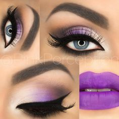 """⠀⠀⠀⠀⠀⠀⠀✨ANNA✨ on Instagram: """"#flashback to a look I did some time ago  I love purple! Details - @bhcosmetics wild at heart palette ,  @nyxcosmetics milk jumbo pencil as base,  liner is LBD from @motivescosmetics , lashes are Hollywood from @lovelovelashes , brushes used are @makeupaddictioncosmetics and @rccosmetics , lips are pansy from @limecrimemakeup"""""""