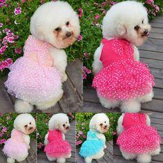 Cute Pet Puppy Small Dog Lace Skirt Princess Tutu Dress Clothes Apparel Costume | eBay