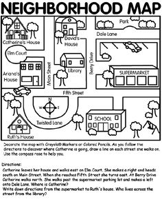 This neighborhood map can be used for teaching map skills to primary age children through relative terms using their own environment. This map can be adapted to teach certain map skills, terms of location, and spatial relationships. (direction too) 3rd Grade Social Studies, Kindergarten Social Studies, Social Studies Activities, Teaching Social Studies, Weather Kindergarten, Social Studies Projects, Community Activities, Teaching Map Skills, Teaching Maps