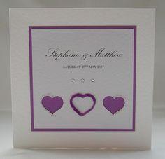 Trilogy Wedding Invitation, Handmade, Purple, Hearts