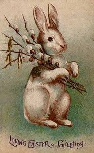 """The Easter Bunny"" makes an appearance here on a postcard from 1902. The furry rabbit was made popular by German immigrants that moved to the United States in the 17th century. Public domain."