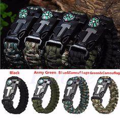 26.8 x 3.15 x 1.20 cm Paracord Survival Bracelet Rope Compass Adventures Compass Flint Fire Starter Scraper Whistle
