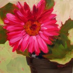 """Single Gerbera"" - Original Fine Art for Sale - © Sandy Haynes"