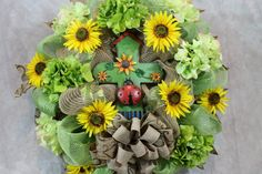 Sunflower Wreath  Lime Green Sunflower by SouthernCharmFlorals
