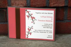 cherry blossom wedding invitations | Coral and Brown Ribbon Cherry Blossom Wedding Invitation