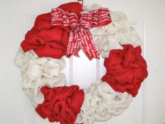 Red & White burlap Holiday Wreath