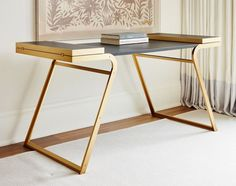The Bryson Desk, soft full grain Italian leather top and a brass plated base. The sides fold out to accommodate a larger work-space when needed. Find Furniture, Luxury Furniture, Modern Furniture, Furniture Design, Furniture Cleaning, Furniture Ideas, Pc Table, Interior Design Awards, Modern Console Tables