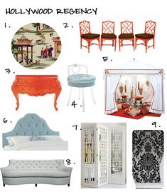 Hollywood Regency: Loving the faux bamboo chippendale chairs and over-the-top details