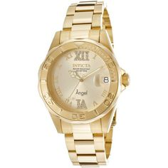 Invicta Women's Angel Bracelet 18k Gold Plated Ss Gold Tone Dial... ($121) ❤ liked on Polyvore featuring jewelry, watches, fancy jewelry, 18k watches, water resistant watches, 18 karat gold watches and invicta wrist watch - dress watches for mens, online shopping offers watches, all gold watch *ad