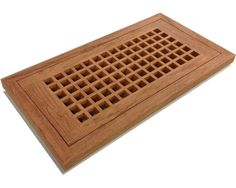 """Egg Crate Flush Mount Brazillian Cherry (Jatoba) Grates. Wood flush mount vents are designed to lay flat with the surface of 3/4"""" wood flooring. STRONGER construction and BETTER air flow than the louvred design. It is recommended that this unit be installed during the installation of your hardwood floor. Egg-crate vents do NOT have an operable damper, they are free flow to allow for MAXIMUM AIR FLOW."""