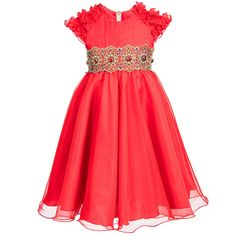 Graci Red Organza Dress with Gem Waistband at Childrensalon.com