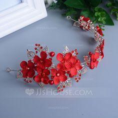 Amazing Rhinestone/Alloy/Imitation Pearls Flowers & Feathers/Headbands (042074234)