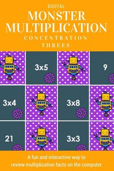 A fun way to review multiplication facts. Integrate technology since this is perfect for smartboards or computers. Nice for small or whole groups.