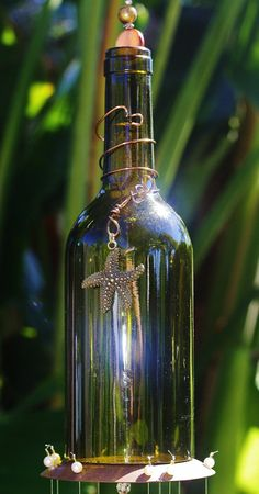 Wine Bottle Whimsical Wind Chime - Coco with Dark Green Bottle, Rich Brown Stained Glass and Glittery Gold and Silver Beads. Unique Chime