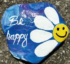 Be happy flower painted rock