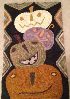 Tumbling Pumpkins Primitive Hooked Rug. via Etsy.
