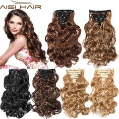 """False Hair Extension 16 Clips Clip in Hair Extensions Synthetic Hair Apply Hairpiece 20"""" Long Wavy Curly Hairpieces"""