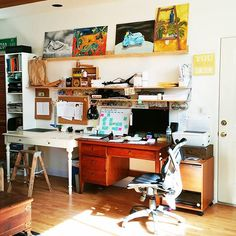 18: #workspacewednesday. This is my slice of awesome  It's my happy place I adore going to every day. On the left side is my workshop & creative desk, on the right is where I write, plan, and do.