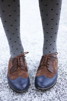 dotted tights and oxfords