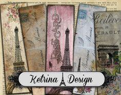Vintage Paris Bookmarks Carte Postale Bookmarks by KetrinaDesign