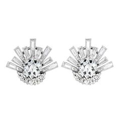 Platinum Antique Cushion Cut Diamond Earrings | From a unique collection of vintage more earrings at http://www.1stdibs.com/jewelry/earrings/more-earrings/