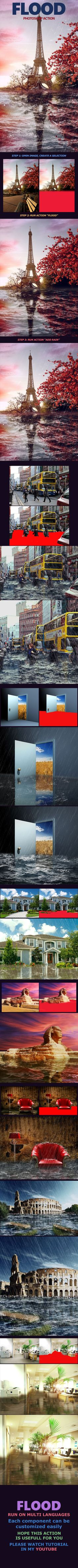 Flood Photoshop Action This action will add Flood to anywhere on your photo, just create your selection on the new layer and run the action. Download thic action at: https://graphicriver.net/item/flood/17205260?ref=KlitVogli