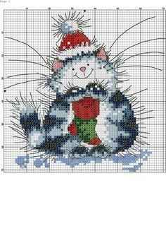 Cross Stitch Christmas Ornaments, Xmas Cross Stitch, Cross Stitch Art, Cross Stitch Animals, Christmas Cross, Cross Stitch Designs, Cross Stitch Embroidery, Cat Cross Stitches, Counted Cross Stitch Patterns