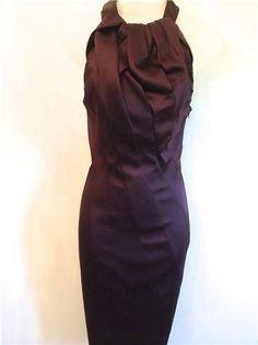 KAREN MILLEN Aubergine Purple Halterneck Satin Pencil Fitted Dress - Karen Millen Dresses UK Ab-Fabs Designer Boutique