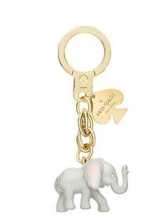 Kate Spade Elephant Keychain Grey Multi