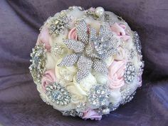 """Romantic Pink and Ivory"" ~ Brooch Bouquet"