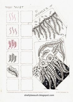 Wist - Step by Step Nature Inspired Zentangle Pattern by Shelly Beauch Tangle Doodle, Tangle Art, Zen Doodle, Doodle Art, Zentangle Drawings, Doodles Zentangles, Doodle Drawings, Doodle Patterns, Zentangle Patterns