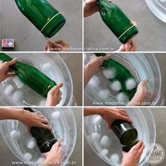 How to make candle holders or vases from wine bottles. First removed the bottom of the bottle. You need string, nail polish remover and a lighter or light candle and a sink full of ice cold water and a file I just use a 180 grit nail file to file the rough edges