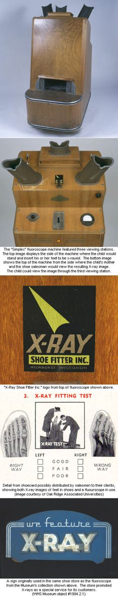 """In the late 1940s, Noren's Shoes of Sturgeon Bay attracted customers with the slogan """"Shoes of Quality, X-Ray Fitted."""" Like many other shoe stores at the time, Noren's used an X-ray machine, or fluoroscope, to assure customers of a perfectly fitted shoe. While improvements in fit were dubious, fluoroscopes did succeed in """"scientifically"""" marketing shoes for more than a quarter century."""